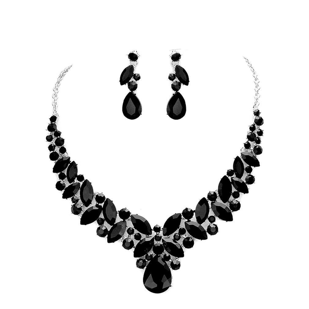 d6a57e6bd Amazon.com: Blue Ice, Affordable Wedding Jewelry Women Elegant Jet Black  Crystal Statement Chunky Silver Necklace Jewelry Earrings set: Jewelry