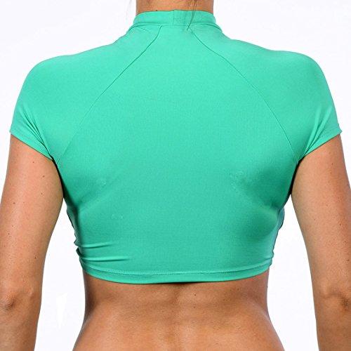 Damen Sommer Druck Swimsuit Push up Beachwear Top Shirt und Triangel Hose Zweiteiler Badenzug Bikini Set