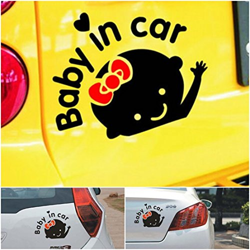 1-Pc Finest Popular Baby In Car Stickers Windows Vinyl Truck Decor Safety on Board Girl Style Color Black