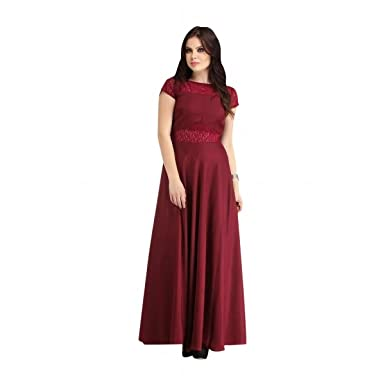 5f2b2d33a42a Amazon.com  Bollywood Long Gown Tunic Party Wear Ceremony Girl Indian western  dress L XL Maroon (14)  Clothing
