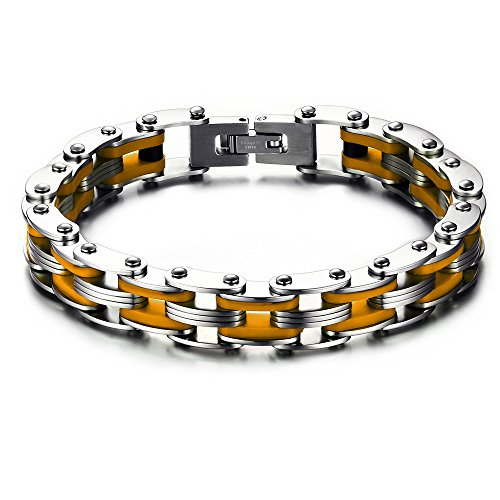 BEMI Cool Style 10mm Mixed Silicone Stainless Steel Motorcycle Bike Link Chain Bracelet for Men 9 Colors Yellow (Titanium Mens Diamond Bracelet)