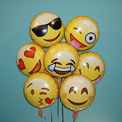 Emoji Fun Face Variety Foil Balloons (7-Pack)