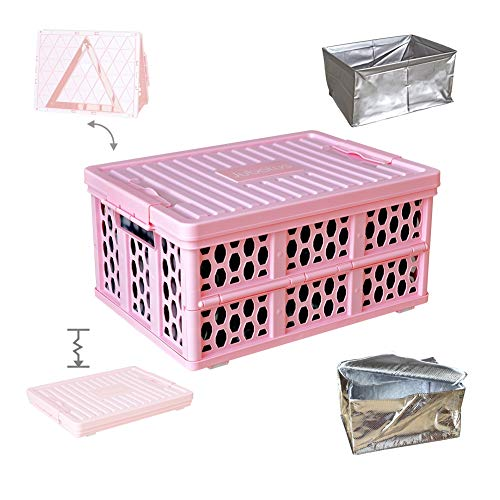 Jubatus Home Organization and Storage Collapsible Trunk Organizer Pink Storage Box with Lid, Cooler Bag and Waterproof Bag - Trunk Organizer Cube