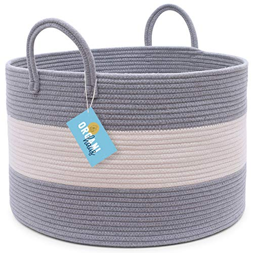 OrganiHaus XXL Cotton Rope Basket | Wide 20″ x 13.3″ Blanket Storage Basket with Long Handles | Decorative Clothes Hamper Basket | Extra Large Baskets for Blankets Pillows or Laundry (Gray)