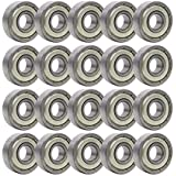 Rollerex 20-Pack, 608Z ABEC-1 Wheel Bearings (for Any Products Using Roller Skate Wheels) (Carbon Steel)