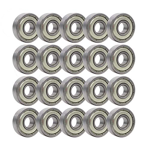 Rollerex 20-Pack, 608Z ABEC-1 Wheel Bearings (for Any Products Using Roller Skate Wheels) (Carbon ()