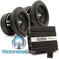 pkg Sundown Audio SAE-600D Monoblock 600 Watts RMS Digital Class D Amplifier + (2) Sundown Audio E-8 V.5 D4 8 300 Watts RMS Dual 4-Ohm EV.5 Series Subwoofers