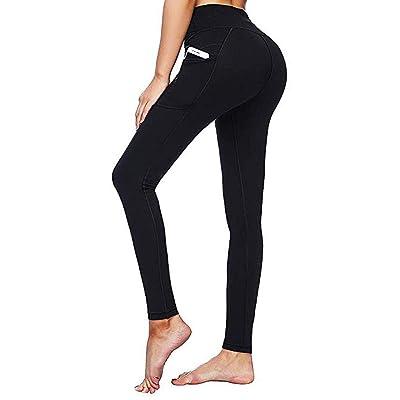 Meikosks Women's High Waist Pants Yoga Tights Tummy Control Slim Leggings with Pockets Black: Clothing