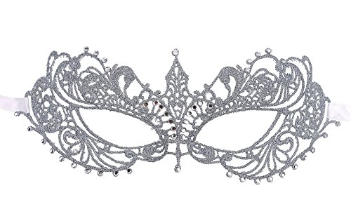 Venetian Costumes For Women (Elegant Greek Goddess Masquerade Opera Costume Crystal Gem Eye Lace Mask,Silver)