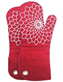 RED LMLDETA Silicone Printing Oven Mitts/Gloves 1 Pair, Heat Resistant...