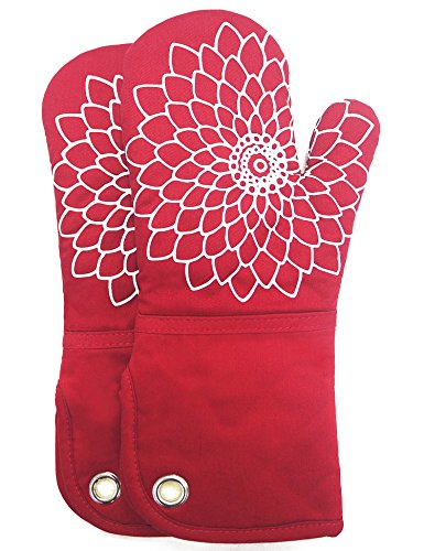 Heat Resistant Kitchen Oven Mitt With Non-Slip Silicone Printed, Set Of 2 Oven Gloves for BBQ cooking baking, Grilling, Barbecue,microwave, Machine (Red Oven Mitt)