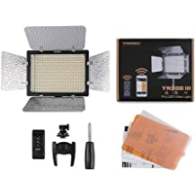 YONGNUO YN300 III LED Video Light 3200-5500K Adjustable PRO KIT With 2 Battery , Softbox , Charger , AC adapter Color Filters