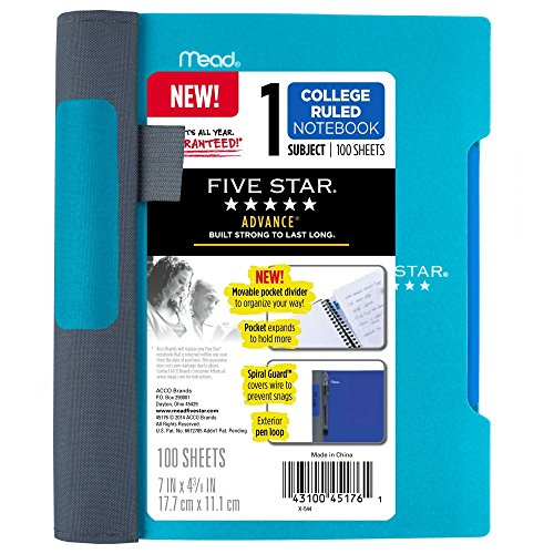 Five Star Advance Spiral Notebook, 1 Subject, College Ruled Paper, 100 Sheets, 7
