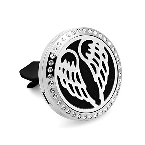Aromatherapy Car Essential Oil Diffuser Vent Clip Wings Aroma Pendant Hypo-Allergenic Stainless Steel (Etched Locket Pendant)