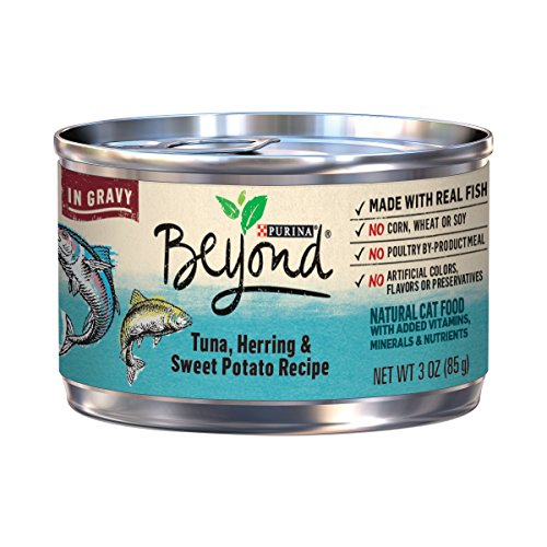 Purina Beyond Tuna, Herring & Sweet Potato Recipe in Gravy Adult Wet Cat Food - Twelve (12) 3 oz. Cans by Purina Beyond