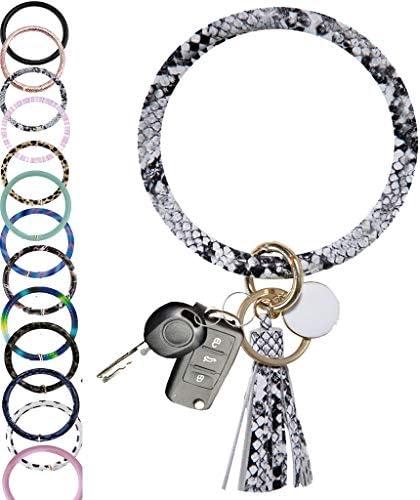 CYLMFC Wristlet Keychain Bracelet Bangle Keyring Leather – 3.2″ Circle Key Ring Tassel Bracelet Holder For Women Girl