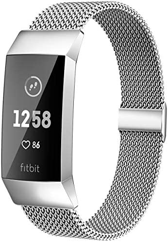 MioHHR Metal Bands Compatible with Fitbit Charge 3 / Charge 4 Bands for Women Men, Breathable Stainless Steel Replacement Wristband Accessories for Charge 3 SE Fitness Activity Tracker, Silver
