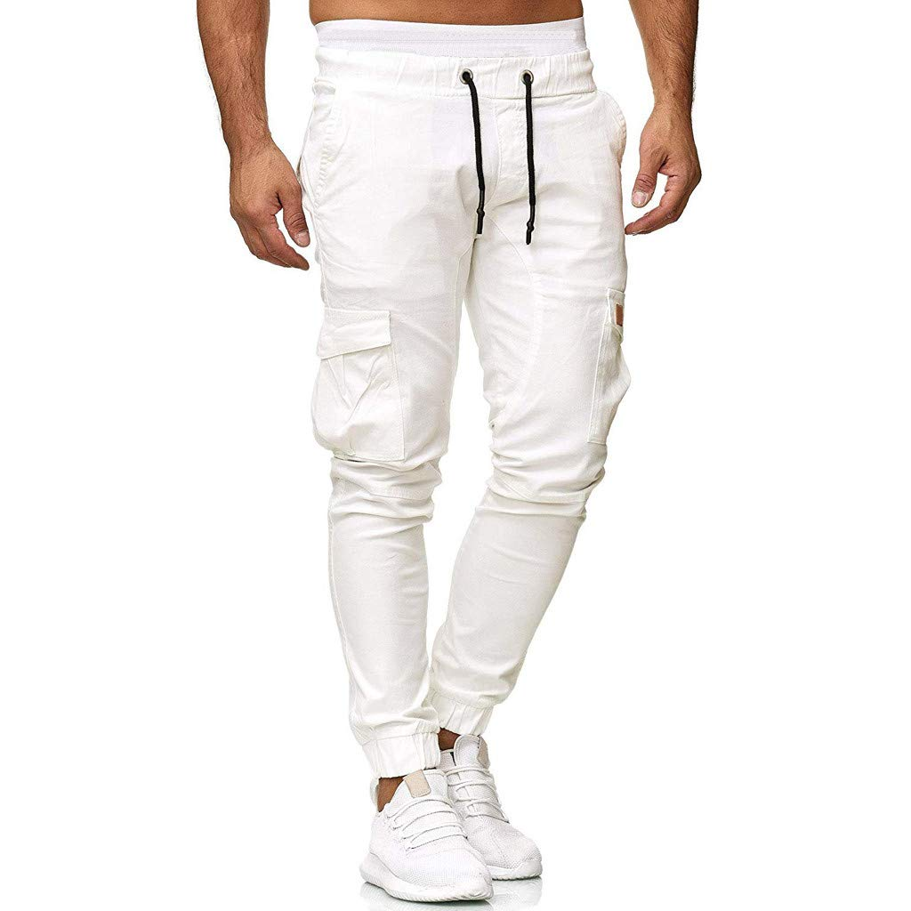 Men's Skinny Sweatpants,Clearance-Fashion Sport Slacks Casual Elastic Wasit Drawstring Pant Beach Trousers with Pockets