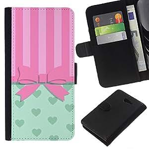 For Sony Xperia M2 Case , Bowtie Bow Pink Hearts Lines - la tarjeta de Crédito Slots PU Funda de cuero Monedero caso cubierta de piel