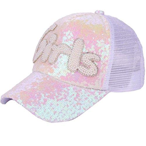 Gorra de mujer con visera de moda Saihui, gorras de verano de malla ajustable para colas de caballo, con purpurina y lentejuelas, para mujeres y niñas, ...
