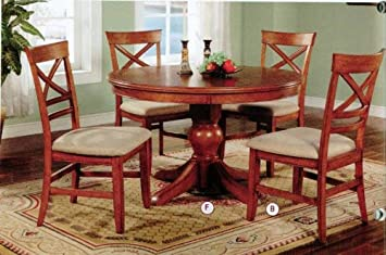 Round Casual Dining Set In Walnut Finish, Table + 6Chairs