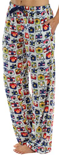 Frankie & Johnny Women's Ultra-Soft Fleece Relaxed Fit Pajama PJ Pants Fleece Cameras - Fleece Pants Lounge