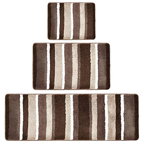Brown Striped Rug - mDesign Soft Microfiber Polyester Spa Rugs for Bathroom Vanity, Tub/Shower - Water Absorbent, Machine Washable - Plush Non-Slip Rectangular Accent Rug Mat - Striped Design, Set of 3 Sizes - Brown
