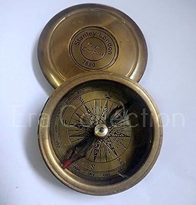 Brass Pocket Compass Stanley London Antique Nautical Brass Compass Vintage