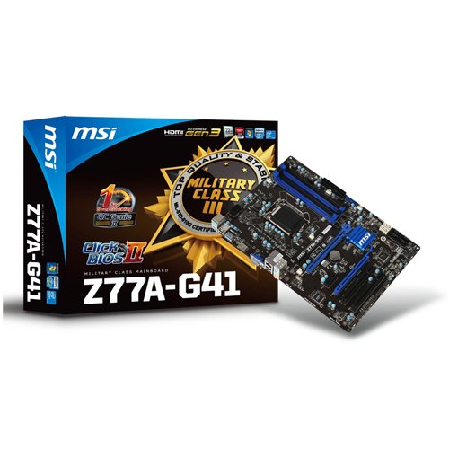 MSI PCi Express 24-pin ATX DDR3 Intel LGA1155 SATA III Motherboard (Z77A-G41)