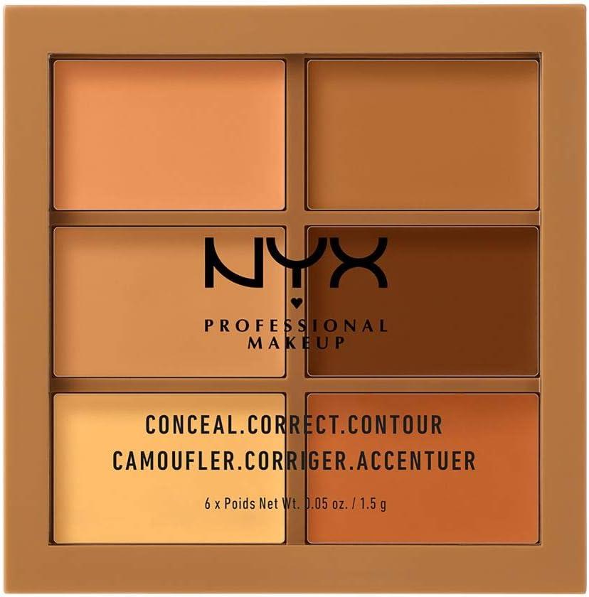 NYX Professional Makeup Paleta de correctores y contouring Conceal, Correct, Contour Palette, 6 sombras, Textura cremosa, Tono: Deep: Amazon.es: Belleza
