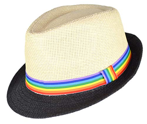 (Super Cute Natural and Black Straw Fedora Hat with Rainbow Ribbon Hatband (Natural and)