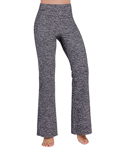ODODOS Power Flex Boot-Cut Yoga Pants Tummy Control Workout Non See-Through Bootleg Yoga Pants,NavyHeather,X-Large