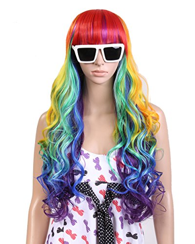 Cool2day® 80cm Long Wavy Curly Colorful Rainbow Full Hair Wig Cosplay Party JF1556