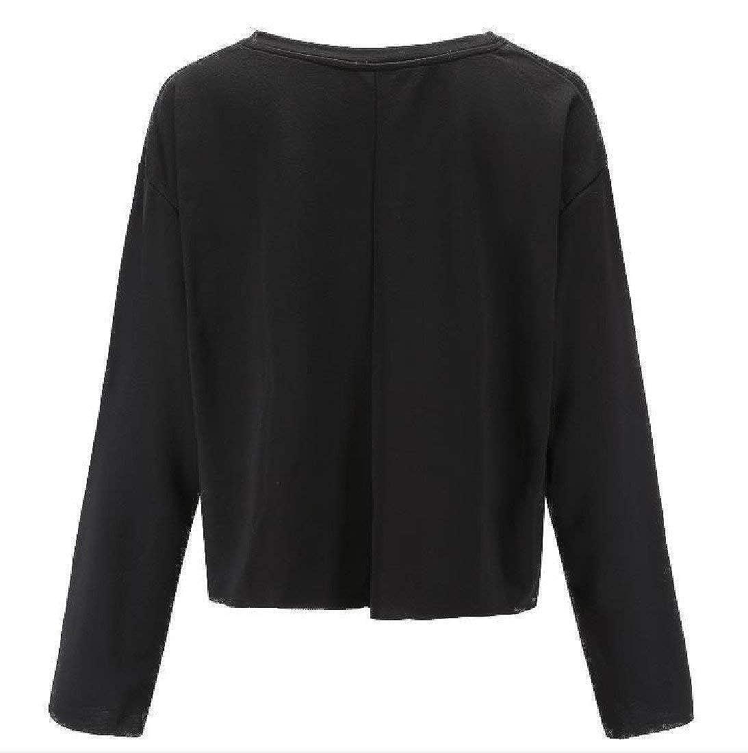 Hadudu Women Wide Hem Pure Color Short Novelty Sweatshirt Pullover Top