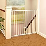 """Tall Easy Swing and Lock Gate"" by North States: Ideal for wider stairways, swings to self-lock. When tall barrier needed. Hardware Mount. Fits opening 28.68"" to 47.85"" wide (36"" tall, Soft White)"