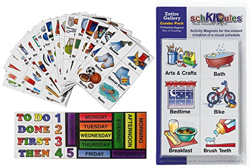 "SchKIDules® Visual Schedules ""133 Pc Entire Gallery Combo Pack"" w/ 114 Home, School and Behavioral Themed Activity Magnets PLUS 19 Headings Magnets"