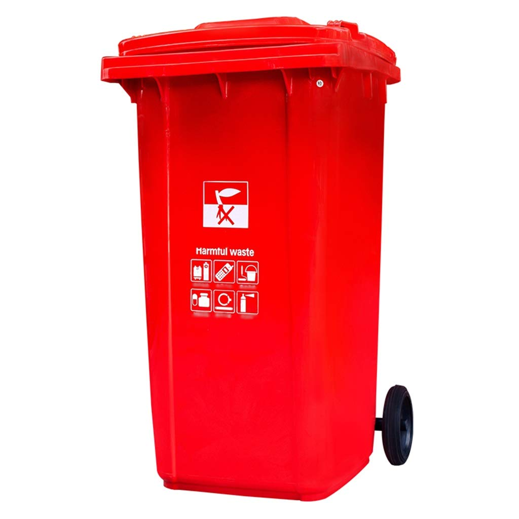 Trash can Trash Can Outdoor Large Classification Trash Can Property Storage Bucket Wheeled Trailer Waste Bin (Color : Red)