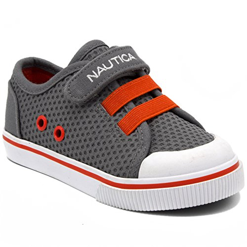 (Nautica Kids Calloway Sneakers Bungee Straps Casual Shoes-Grey Mesh-9)