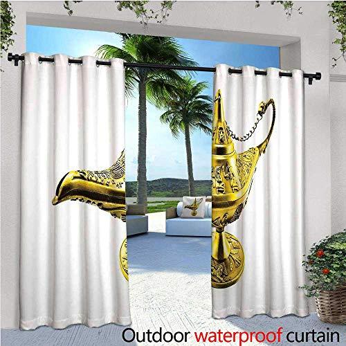 cobeDecor Arabian Fashions Drape Aladdin`s Magic Genie Lamp Wish Mystery Magic Wonder Adventure Story Inspired Art Outdoor Curtain Waterproof Rustproof Grommet Drape W108 x L108 Gold White