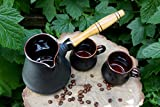 Handmade ceramic cezve, Black pottery turkish