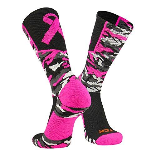 - Twin City Woodland Aware Breast Cancer Ribbon Crew Socks - Black Hot Pink Black Pink/Large