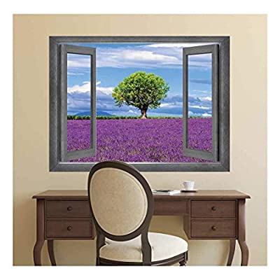 Open Window Creative Wall Decor - A Lone Tree Surrounded by a Field of Purple - Wall Mural, Removable Sticker, Home Decor - 36x48 inches