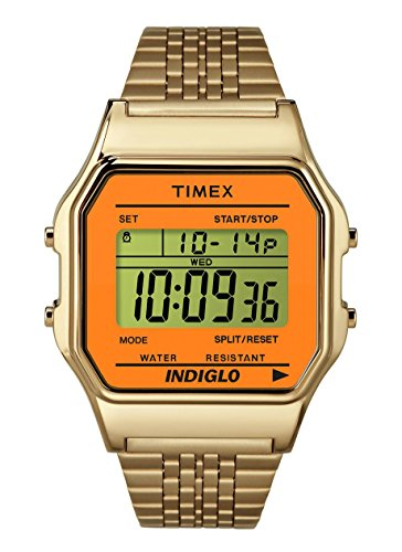 Case Gold Tone Band - Timex Unisex Digital Watch | Retro Orange Case Gold-Tone Band | TW2P65100