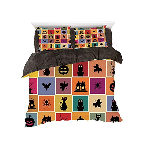 Flannel 4 Piece Cotton Queen Size Bed Sheet Set for bed width 5ft Winter Holiday Pattern by,Vintage Halloween,Bats Cats Owls Haunted Houses in Squraes Halloween Themed Darwing Art Decorative,Multicolo -