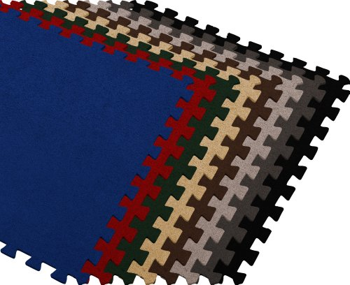 We Sell Mats Carpet Interlocking Floor Tiles 2'x2' (Tan, 48 SQFT (12 Tiles + Borders))