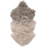 Bloomingville Dip Dye Tibetan Lamb Fur Rug, Stone/Off White