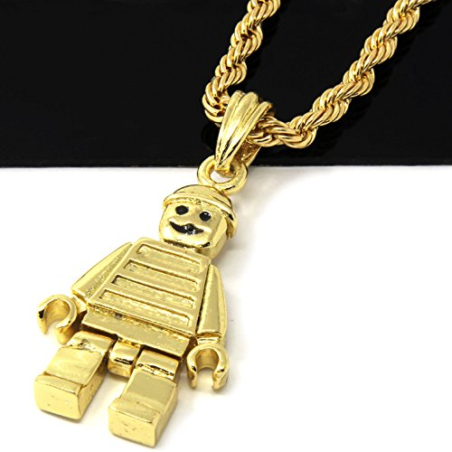 Mens 14k Gold Plated Lego Man Pendant 24