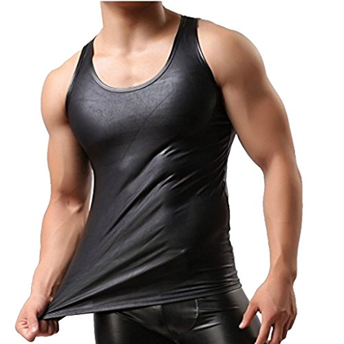 YiZYiF Men's Wetlook Leather Stringer Gym Tank Tops Bodybuilding Workout Sleeveless Shirts Black Medium