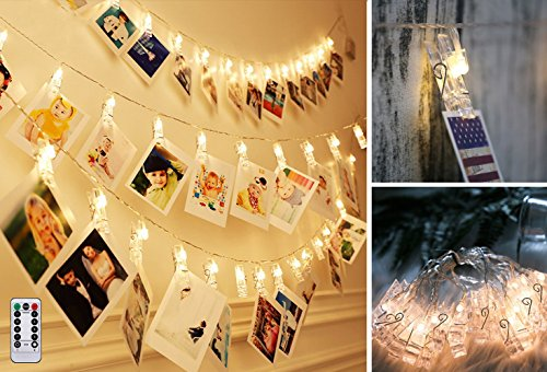 Photo Clips String Lights 40 LED Battery Operated Starry Fairy Lights For Valentine's Day Decoratio Hanging Photos Pictures Notes Artwork for Wedding Birthday Party Wall DIY Warm White(Remote control by Fanng