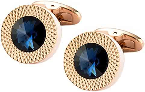 fe983e2a57 Cufflinks Direct Sapphire Blue Swarovski Crystal Gem in Rose Gold Plate Men  Gift